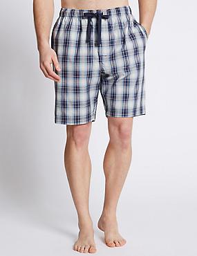 Pure Cotton Checked Pyjama Shorts, BLUE/GREY, catlanding