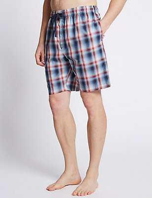 Pure Cotton Checked Stay Soft Pyjama Shorts, BLUE/RED, catlanding