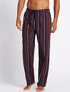 Pure Cotton Striped Long Pyjama Bottoms, MULTI, catlanding