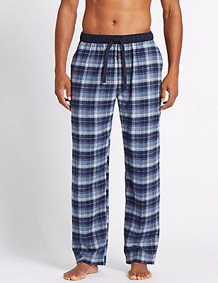 2in Longer Pure Cotton Checked Pyjama Bottoms, DENIM MIX, catlanding