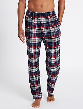 Pure Cotton Checked Long Pyjama Bottoms, MULTI, catlanding