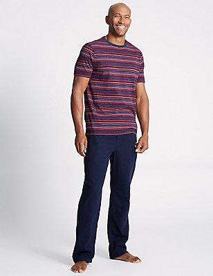 Pure Cotton Striped Pyjama Set, RED MIX, catlanding