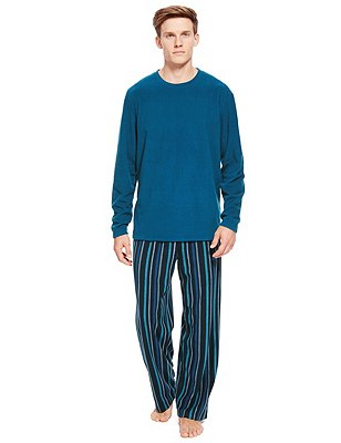 Thermal T-Shirt & Striped Trousers Set, TEAL MIX, catlanding