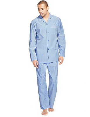 Pure Cotton Striped Pyjamas, BLUE MIX, catlanding