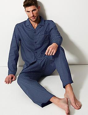 Pure Cotton Printed Pyjama Set, TEAL MIX, catlanding