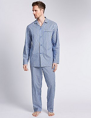 2in Longer Pure Cotton Striped Pyjamas  , BLUE MIX, catlanding