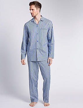 Pure Cotton Striped Pyjamas, BLUE MIX, catlanding