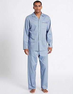 2in Longer Pure Cotton Striped Pyjama Set, BLUE, catlanding