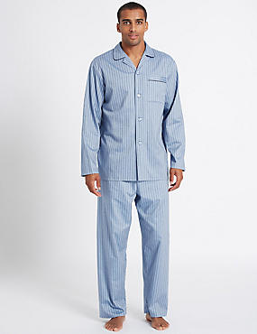 2in Longer Pure Cotton Striped Pyjama Set, BLUE, catlanding