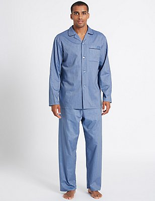 Pure Cotton Herringbone Stripe Pyjama Set, BLUE, catlanding