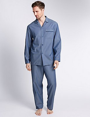 Pure Cotton Herringbone Pyjamas, BLUE, catlanding