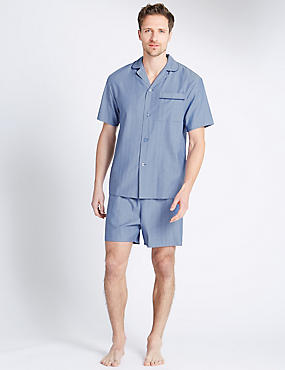 Pure Cotton Herringbone Short Pyjamas, BLUE MIX, catlanding