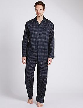 Pure Cotton Spotted Pyjamas, NAVY, catlanding