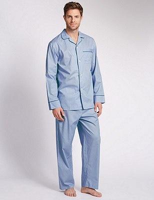 Pure Egyptian Cotton Geometric Print Pyjamas, MID BLUE, catlanding