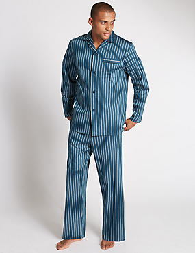 Pure Cotton Bold Striped Pyjamas, TEAL, catlanding