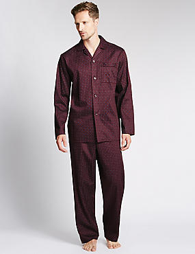 2in Longer Pure Cotton Printed Pyjamas, WINE, catlanding