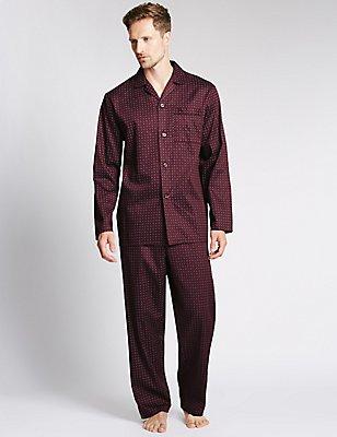 Pure Cotton Geometric Print Pyjamas, WINE, catlanding