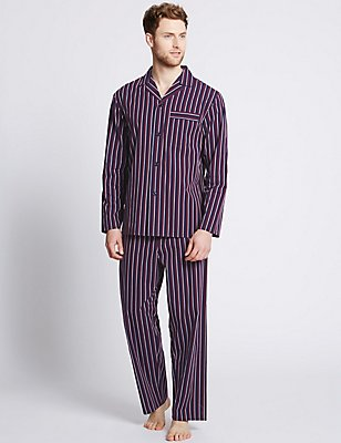 Pure Cotton Striped Pyjamas, BURGUNDY MIX, catlanding