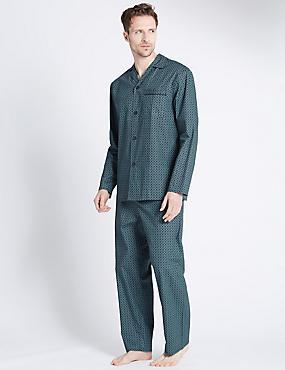 Pure Cotton Foulard Print Pyjamas, TEAL MIX, catlanding