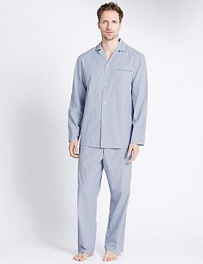 Pyjama 100% coton à rayures, BLEU/BLANC, catlanding