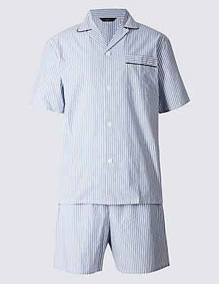 Pure Cotton Striped Pyjamas, BLUE, catlanding