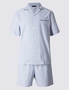 Pyjama 100% coton à rayures, BLEU, catlanding