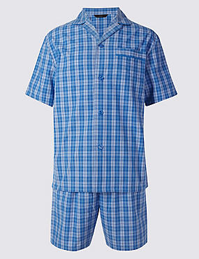 Pure Cotton Checked Pyjamas, BLUE MIX, catlanding
