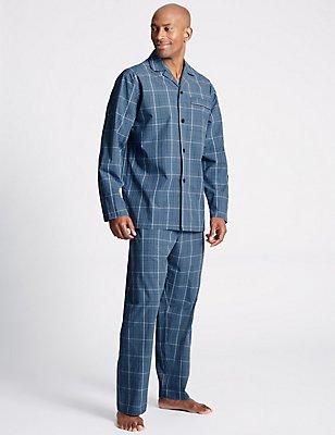Schlafanzug aus reiner Baumwolle mit Karomuster, BLAU MELANGE, catlanding