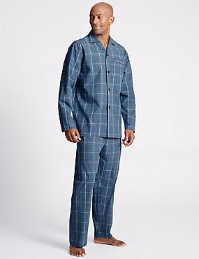 Pure Cotton Checked Pyjama Set, BLUE MIX, catlanding