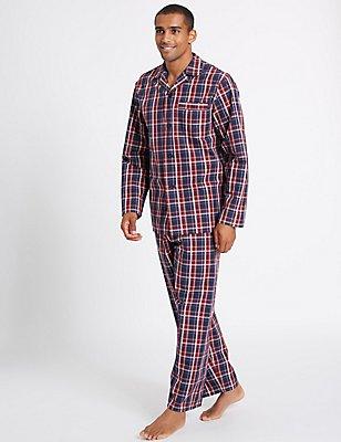 Pure Cotton Checked Pyjamas, NAVY/RED, catlanding