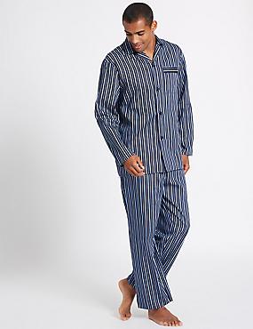 Pure Cotton Striped Pyjama Set, BLUE MIX, catlanding