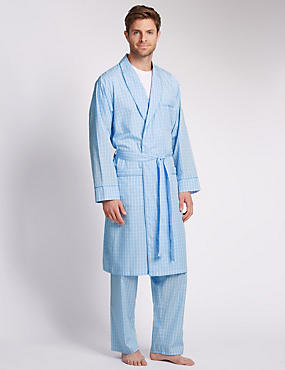 Pure Egyptian Cotton Luxury Checked Belted Dressing Gown