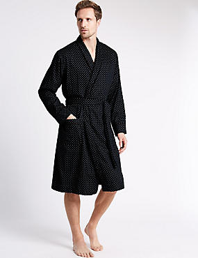 Pure Cotton Paisley Dressing Gown, NAVY MIX, catlanding