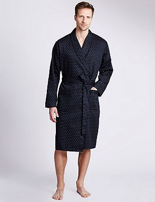 Pure Cotton Lightweight Belted Dressing Gown, NAVY, catlanding