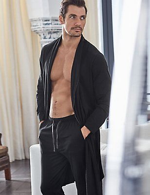 MicroModal™ Blend Dressing Gown, BLACK, catlanding