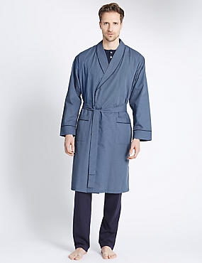 Mini-checked Dressing Gown with Belt , TEAL MIX, catlanding
