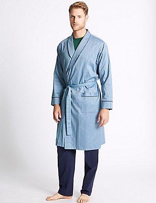Pure Cotton Herringbone Stripe Gown, BLUE, catlanding