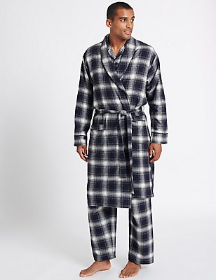 Pure Brushed Cotton Checked Dressing Gown, BLACK MIX, catlanding