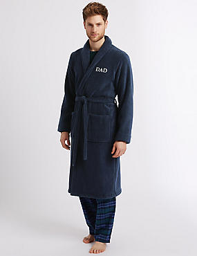 Cotton Rich Dad Dressing Gown , NAVY, catlanding
