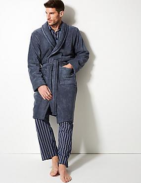 Super Soft Cotton Towelling Gown, AIR FORCE BLUE, catlanding