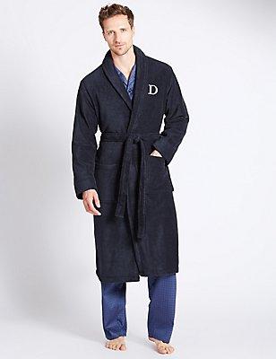 Super Soft Cotton Personalised Alphabet D Gown, NAVY, catlanding