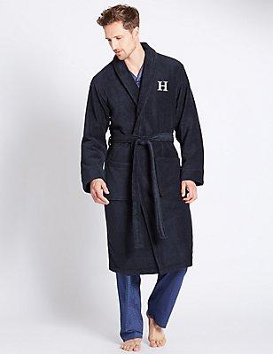 Super Soft Cotton Personalised Alphabet H Gown, NAVY, catlanding