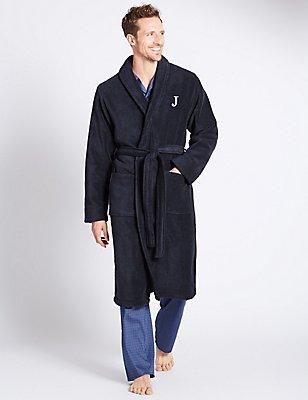 Super Soft Cotton Personalised Alphabet J Gown, NAVY, catlanding