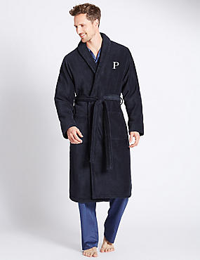 Super Soft Cotton Personalised Alphabet P Gown, NAVY, catlanding