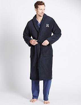 Super Soft Cotton Personalised Alphabet R Gown, NAVY, catlanding