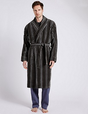 Pure Cotton Thermal Velour Striped Dressing Gown, GREY MIX, catlanding