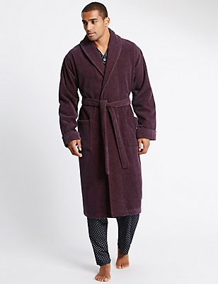 Pure Cotton Velour Luxury Dressing Gown, BURGUNDY MIX, catlanding