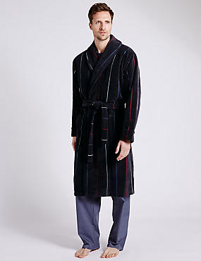 Pure Cotton Thermal Velour Jacquard Striped Dressing Gown, NAVY/RED, catlanding