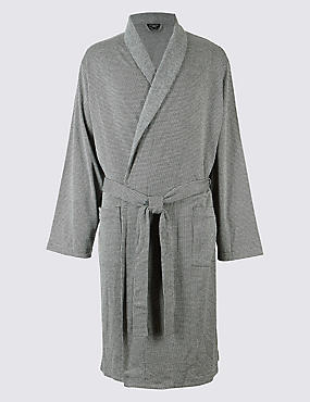 Pure Cotton Textured Dressing Gown, GREY, catlanding