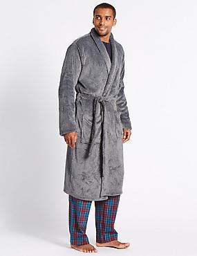Long Line Fleece Dressing Gown with Belt, GREY MARL, catlanding